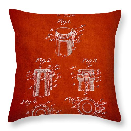 Bottle Cap Throw Pillow featuring the digital art Bottle Cap Fastener Patent Drawing From 1907 - Red by Aged Pixel