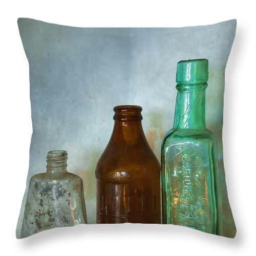 Blue Throw Pillow featuring the photograph Bottles by Svetlana Sewell