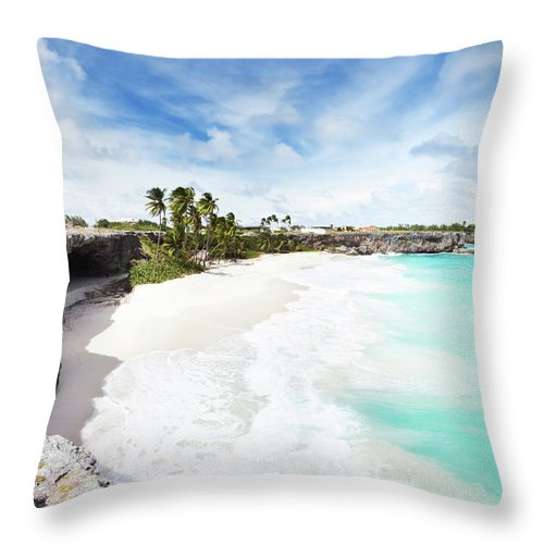 Scenics Throw Pillow featuring the photograph Bottom Bay, Barbados by Tomml