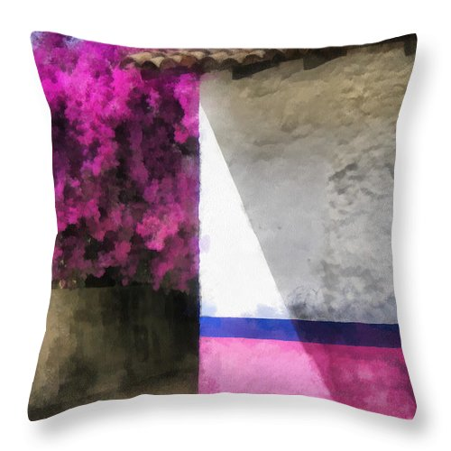 Bougainvillea Throw Pillow featuring the painting Bougainvillea - Art By Ann Powell by Ann Powell