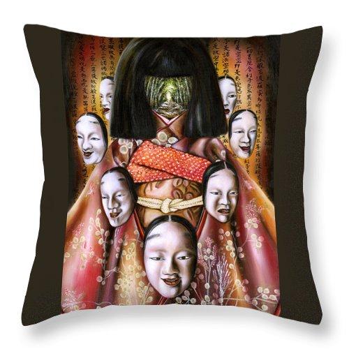 Japanese Throw Pillow featuring the painting Boukyo Nostalgisa by Hiroko Sakai