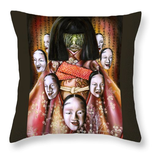 Japanese Throw Pillow featuring the painting Boukyo Nostalgisa by Hiroko Sakai