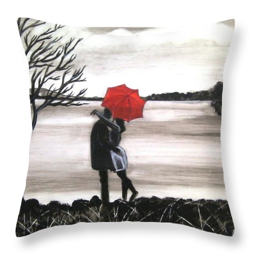Love Valentine Romance Romantic Throw Pillow featuring the painting Bound by Love by Manjiri Kanvinde