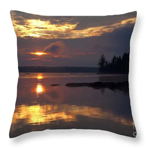 Boundary Waters Canoe Area Throw Pillow featuring the photograph Boundary Waters Sunrise by Joan Wallner