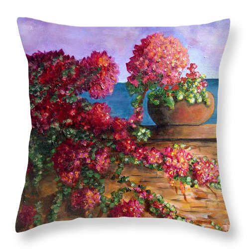 Bougainvillea Throw Pillow featuring the painting Bountiful Bougainvillea by Laurie Morgan