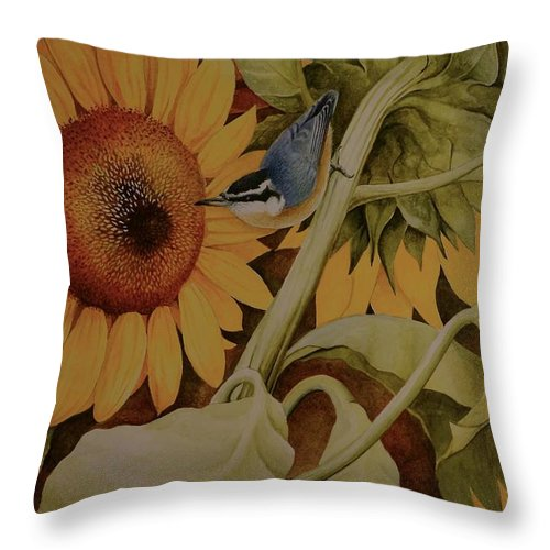 Birds Throw Pillow featuring the painting Bountiful Harvest by Charles Owens