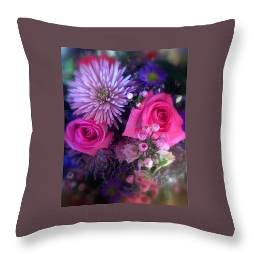 Card Roses Carnations Babies Breath Flowers Green Leaves Acrylic Paint Metal Outdoors Bouquet Flowers Make Sun Love Cards Throw Pillow featuring the photograph Bouquet by Debbie Pier