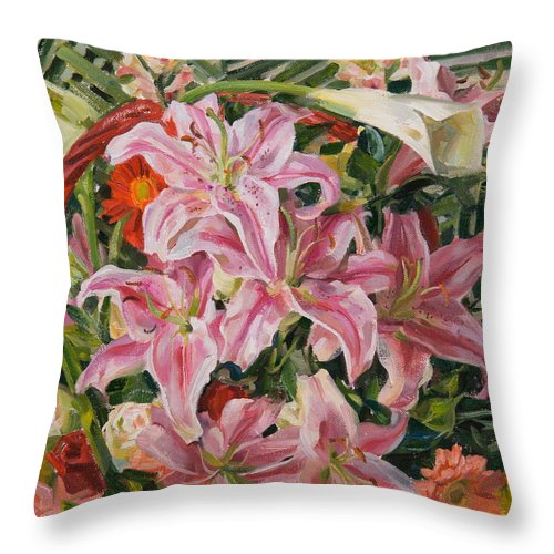 Flowers Throw Pillow featuring the painting Bouquet From Exhibition by Victoria Kharchenko
