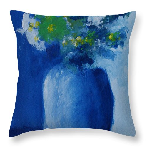 Floral Throw Pillow featuring the painting Bouquet In Blue Shadow by Jill Ciccone Pike