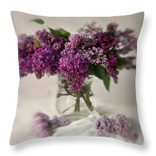 Bouquet Throw Pillow featuring the photograph Bouquet Of Lilacs In A Glass Pot by Jaroslaw Blaminsky