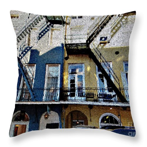 French Quarters Throw Pillow featuring the painting Bourbon Street Firescapes by Ecinja Art Works