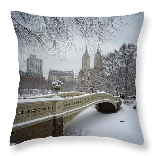 Landscape Throw Pillow featuring the photograph Bow Bridge Central Park in Winter by Vivienne Gucwa