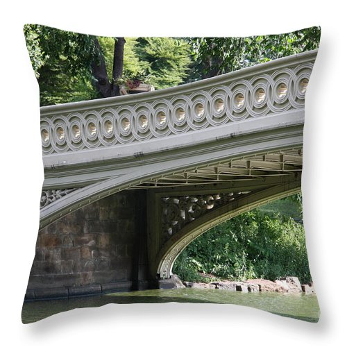 Bow Bridge Throw Pillow featuring the photograph Bow Bridge Texture - Nyc by Christiane Schulze Art And Photography