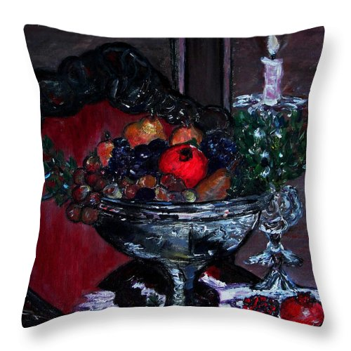 Holiday Fruit Bowl Throw Pillow featuring the painting Bowl Of Holiday Passion by Helena Bebirian