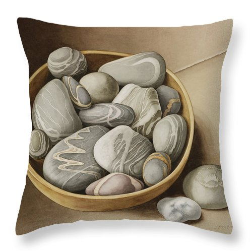 Still Life Throw Pillow featuring the painting Bowl Of Pebbles by Jenny Barron