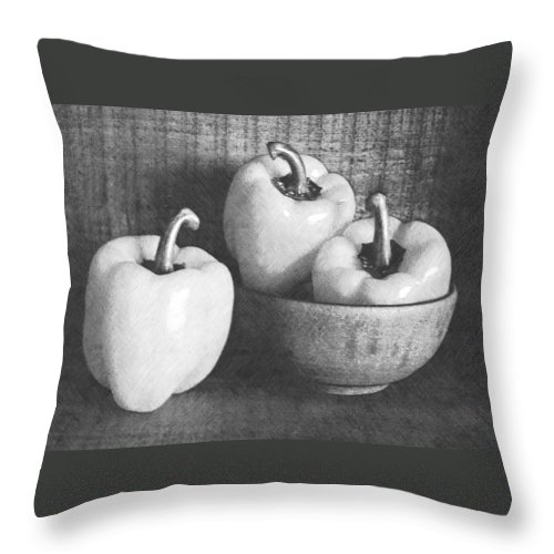 Peppers Throw Pillow featuring the photograph Bowl With Three Peppers by Frank Wilson
