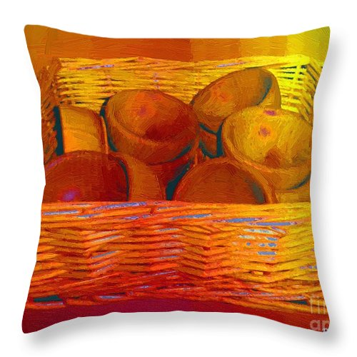 Basket Throw Pillow featuring the painting Bowls In Basket Moderne by RC DeWinter