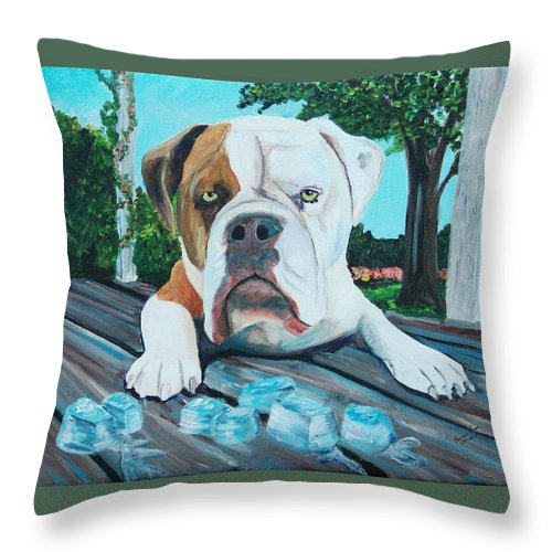 Bulldogs Throw Pillow featuring the painting Bowser On Ice by Frankie Picasso