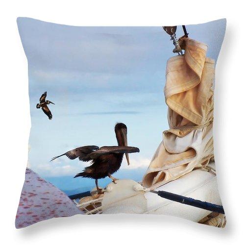 Sea Throw Pillow featuring the photograph Bowsprit Pelicans by Deborah Smith
