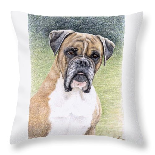 Dog Throw Pillow featuring the drawing Boxer Portrait by Nicole Zeug