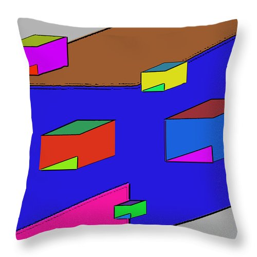 Abstract Throw Pillow featuring the digital art Boxes by John Saunders