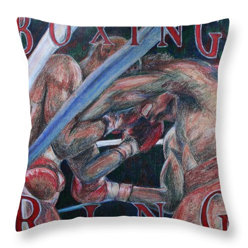Boxing Throw Pillow featuring the drawing Boxing Ring by Kate Fortin