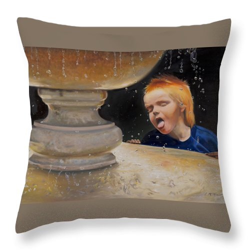 Fountain Throw Pillow featuring the painting Boy At Fountain Of Youth by Loretta McNair