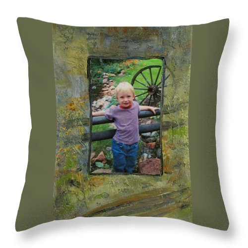 Boy Throw Pillow featuring the mixed media Boy By Fence by Anita Burgermeister