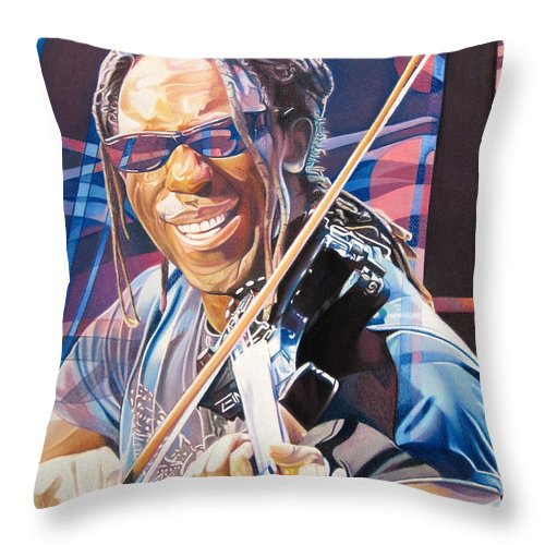 Boyd Tinsley Throw Pillow featuring the drawing Boyd Tinsley And 2007 Lights by Joshua Morton