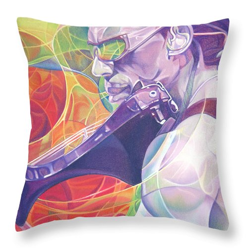 Boyd Tinsley Throw Pillow featuring the drawing Boyd Tinsley And Circles by Joshua Morton