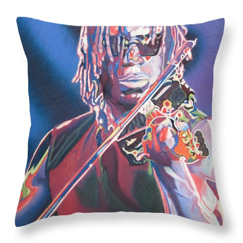 Boyd Tinsley Throw Pillow featuring the drawing Boyd Tinsley Colorful Full Band Series by Joshua Morton