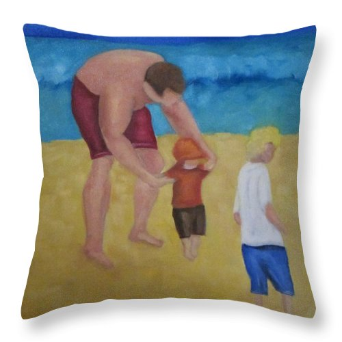 Beach Throw Pillow featuring the painting Paul, Brady Gavin At The Beach by Patricia Cleasby