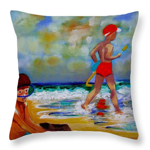 Seascape Throw Pillow featuring the painting Boys Own by Rusty Gladdish