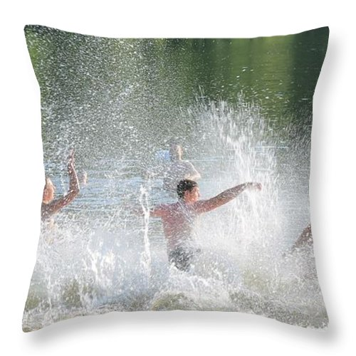 Splash Throw Pillow featuring the photograph Boys Will Be Boys by Robin Vargo