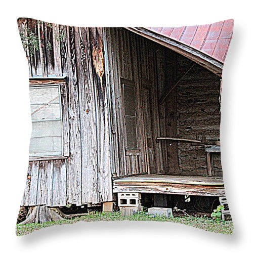 Rustic Houses Throw Pillow featuring the photograph Bracing The House by Kathy White