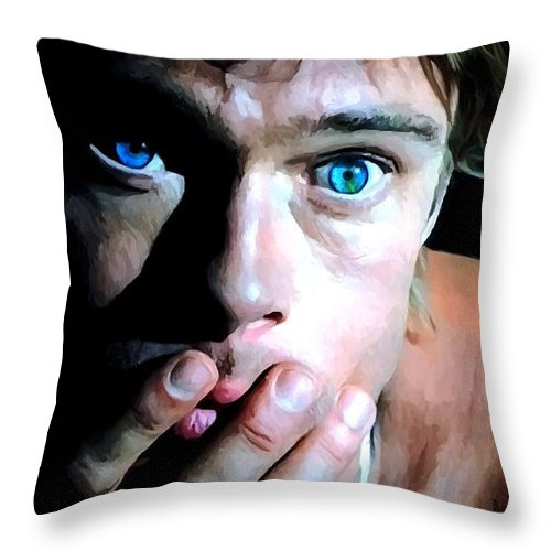 Brad Pitt Throw Pillow featuring the digital art Brad Pitt In The Film The Mexican - Gore Verbinski 2001 by Gabriel T Toro