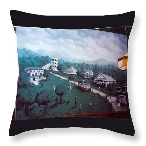 Painting Mural Landscape Throw Pillow featuring the painting Braddock Heights Mural by Matt Mercer