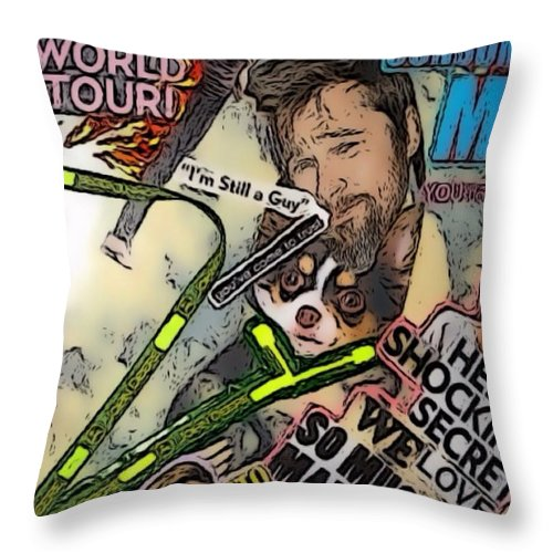 Brad Throw Pillow featuring the digital art Bradgelina Pit by Lisa Piper