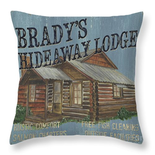 Lodge Throw Pillow featuring the painting Brady's Hideaway by Debbie DeWitt