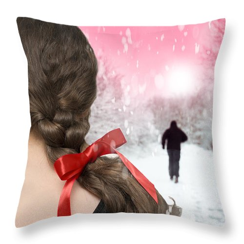 Girl Throw Pillow featuring the photograph Braided Hair With Red Ribbon by Amanda Elwell