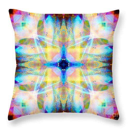 Rainbow Throw Pillow featuring the photograph Brainbow Mandala by Susan Bloom