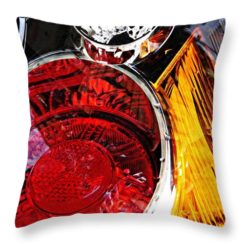 Glass Throw Pillow featuring the photograph Brake Light 11 by Sarah Loft