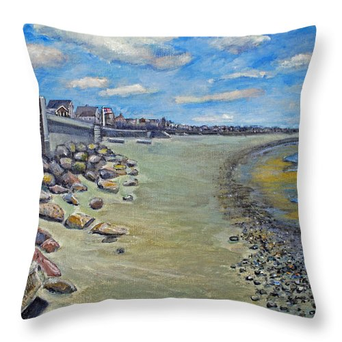 Ocean Bluff Throw Pillow featuring the painting Brant Rock Beach by Rita Brown