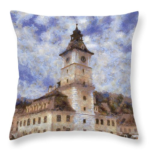 Architecture Throw Pillow featuring the painting Brasov City Hall by Jeffrey Kolker