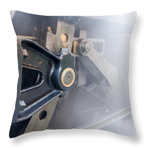 Train Throw Pillow featuring the photograph Brass And Steam by Steev Stamford