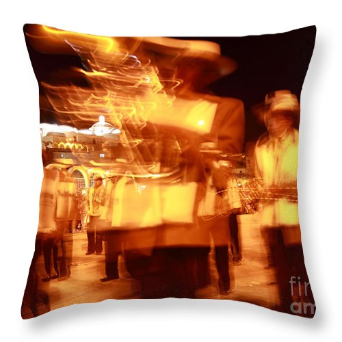 Brass Band Throw Pillow featuring the photograph Brass Band At Night by James Brunker