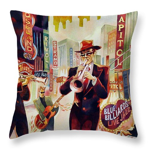 Watercolor Throw Pillow featuring the painting Brass On Broadway by Mick Williams