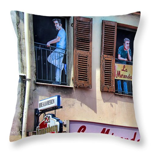 La Merenda Throw Pillow featuring the photograph Brasserie La Merenda.vence.france by Jennie Breeze