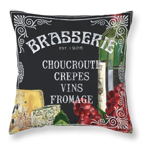Bistro Throw Pillow featuring the painting Brasserie Paris by Debbie DeWitt