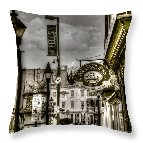 Fells Point Throw Pillow featuring the photograph Brassworks by Debbi Granruth